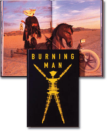 [Burning Man book cover and interior spread]