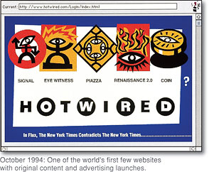 [October 1994: The world's first website with original content and advertising launches.]