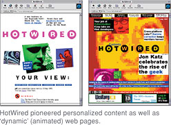 [HotWired pioneered personalized content as well as  'dynamic' (animated) web pages.]