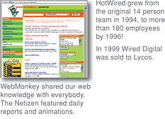 [WebMonkey shared our web knowledge with everybody. The Netizen featured daily reports and animations. HotWired grew from the original 14 person team in 1994, to more than 200 employees by 1996! In 1999 Wired Digital was sold to Lycos.]